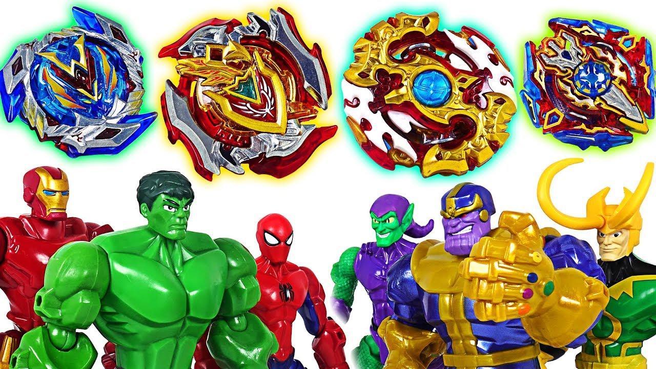 Marvel Avengers and Villain's Beyblade burst Super Z battle!: Hulk, Thanos, Iron Man! - DuDuPopTOY