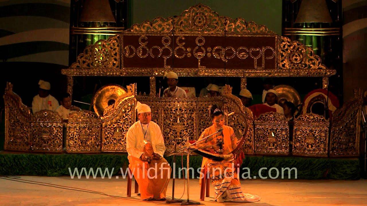 'Saung gauk' Burmese traditional music instrument played ...