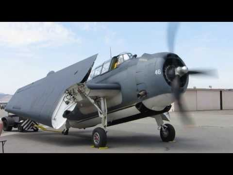 Grumman TBM Avenger engine start and wing fold...