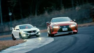 Chris Harris races the Honda Civic Type R vs Lexus LC500 | Top Gear: Series 25 | BBC