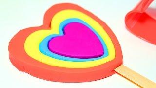 Пластилин Плей До Как сделать цветной Лединец - Сердце Пресс - формы Обучение для детей