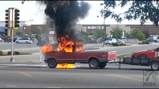 RAW VIDEO FOOTAGE: Truck catches fire while driving on Broadway