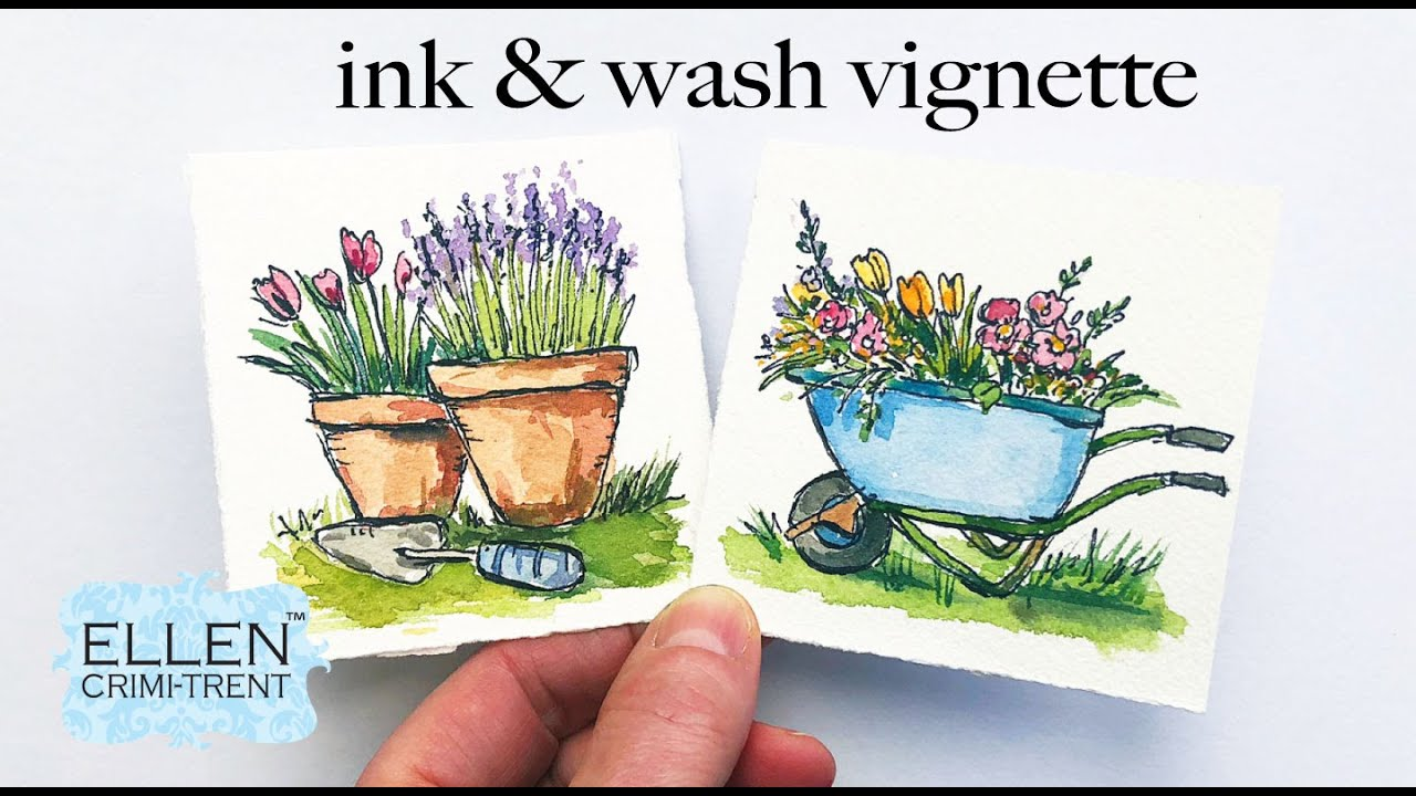 Ink & Wash Watercolor Spring Vignette