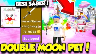 GETTING THE BEST NEW SABER AND DOUBLE MOON PET IN SABER SIMULATOR VALENTINE'S UPDATE! (Roblox)