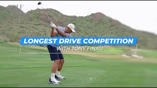 Tony Finau tries to hit his longest drive