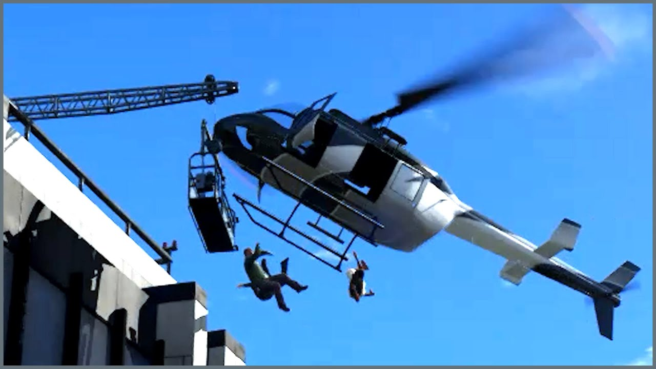 GTA 5 #shorts Helicopter crash on building