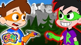 Drew SAVES Mount Rushmore A Drew Pendous Superhero Story Cartoons for Kids | Cool School Stories