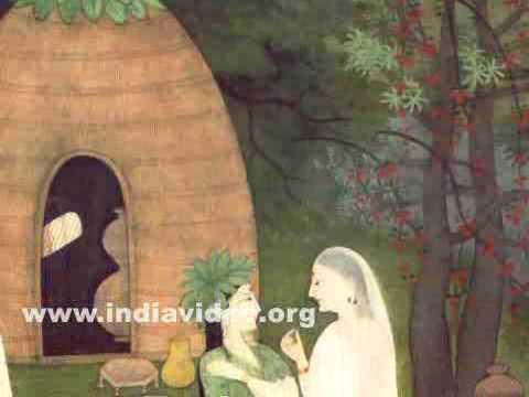 Rama, Sita and Lakshmana at the hermitage of Sage Atri