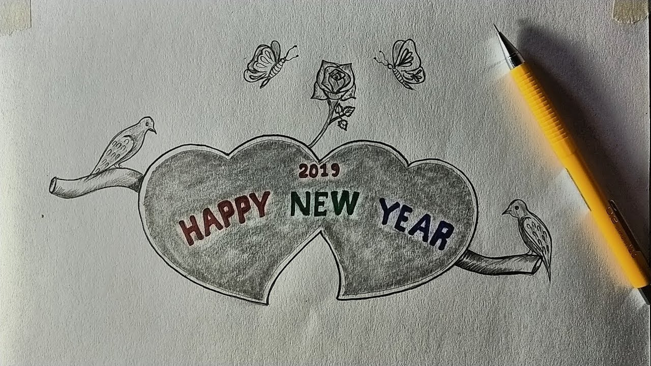 Pencil sketch drawing art happy new year 2019