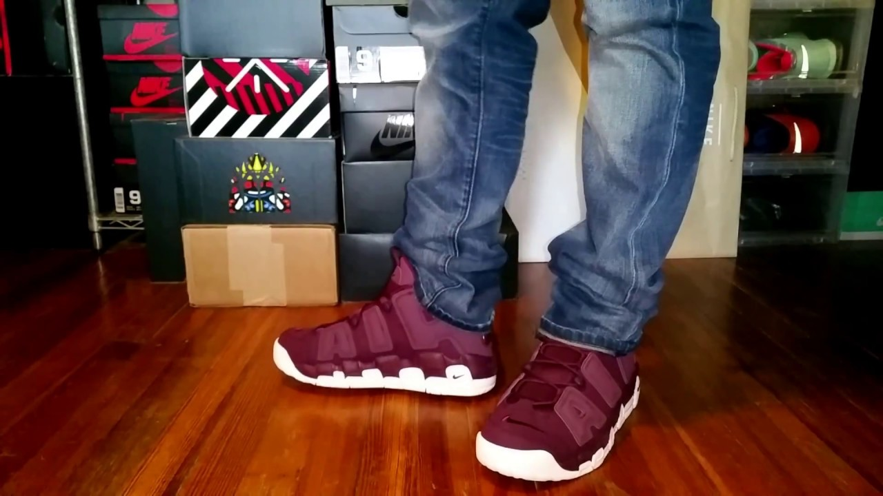 1e66104871c366 AIR MORE UPTEMPO  96 QS MAROON ON FOOT - YouTube
