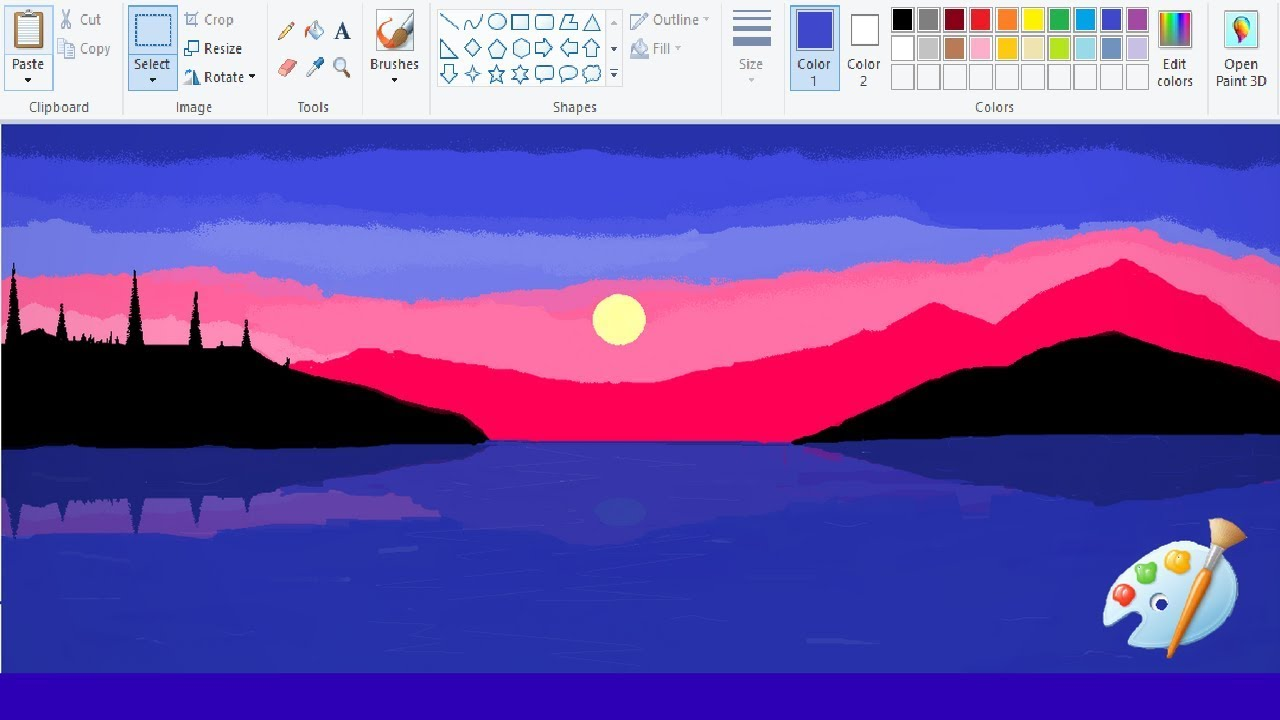 How to Draw Amazing Lake Sunset Painting (MS Paint - Speed ...