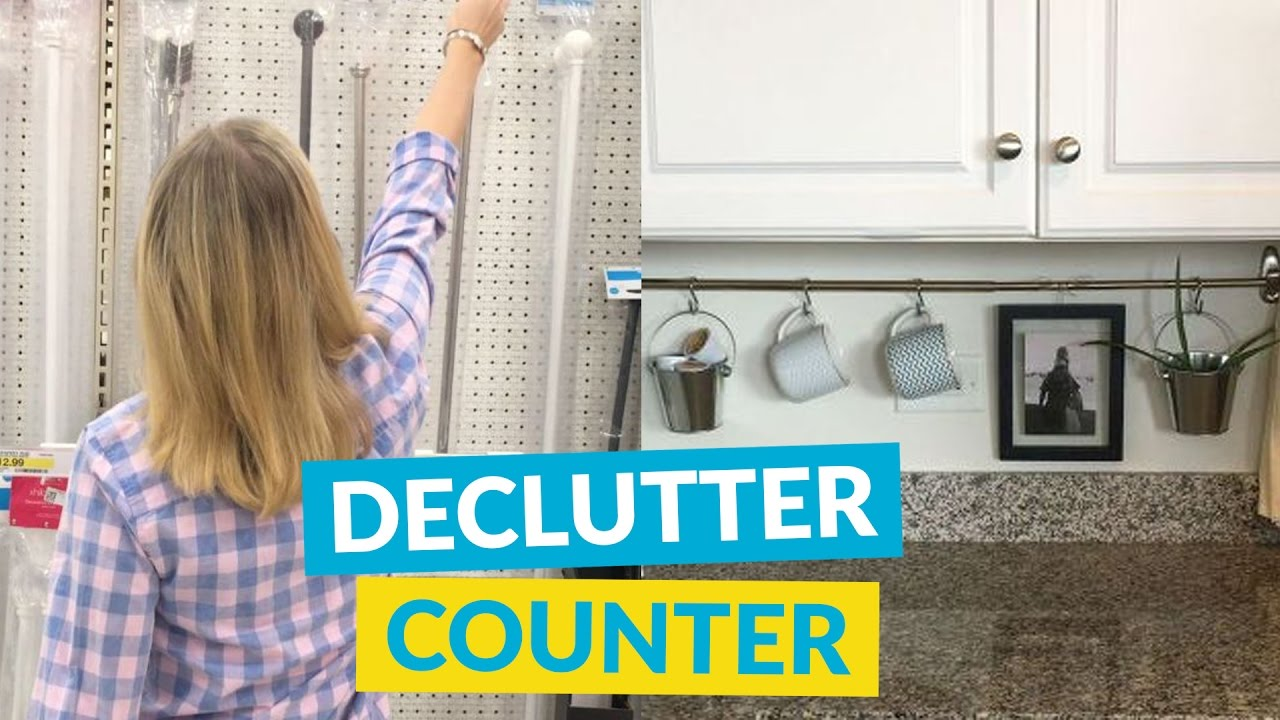 Declutter Kitchen Countertop With A Curtain Rod Youtube