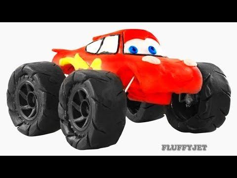 Lightning McQueen Monster Truck Thomas & Friends Train Play Doh Stop Motion - Video For Kids
