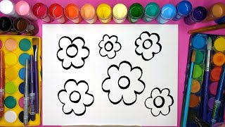 Pretty flowers drawing page and coloring with painting