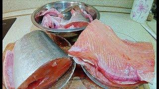 Разделка красной рыбы(горбуша, форель, семга) на суп,  стейки и засолку