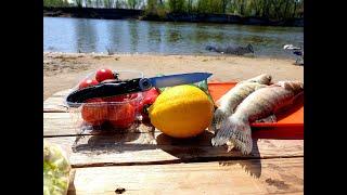 "Отдых на рыбалке, готовим что поймали, нож ""Белка""..."