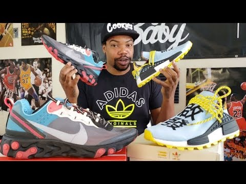 "NIKE REACT ELEMENT 87 ""SOLAR RED"" OR ADIDAS PHARRELL HUMAN RACE ""CLEAR SKYS"" SNEAKER COMPARISON"