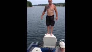 Old man does backflip off boat!