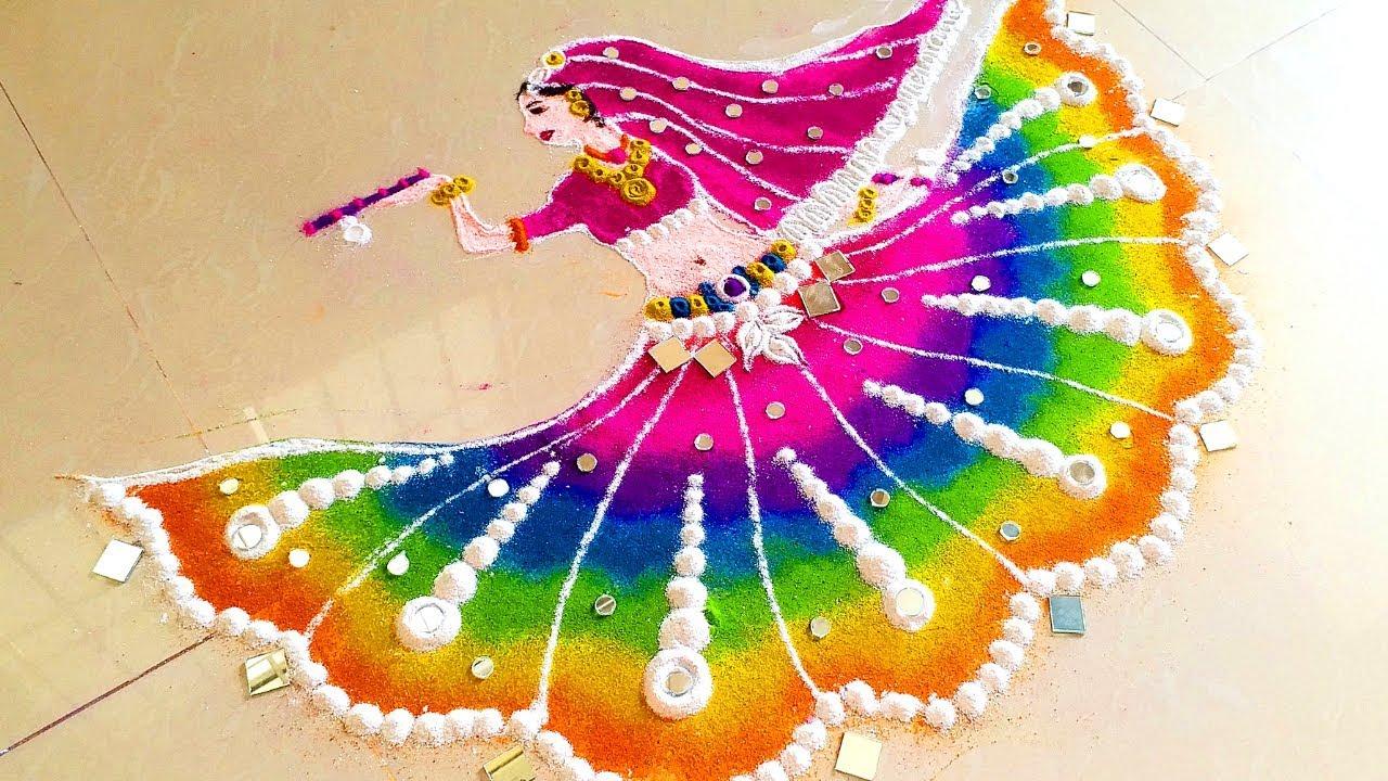 Dancing girl Special rangoli for navratri & freehand rangoli designs for diwali by Rangoli by maya