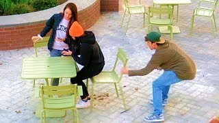 Chair Pulling Prank Silly String!