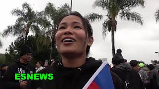 Manny Pacquiao Climbs On Car To See All The Fans & Meet Lil Frong The Fighter From Cambodia