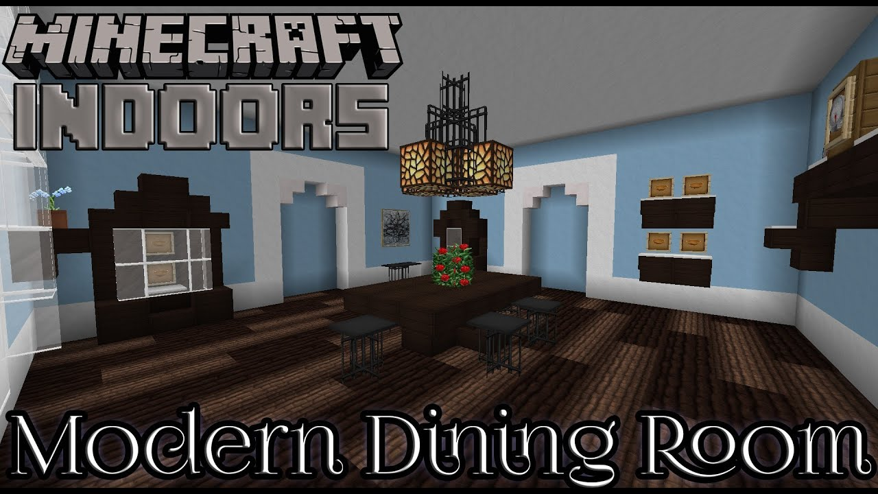 Modern dining room in blue minecraft indoors interior for Minecraft house interior living room