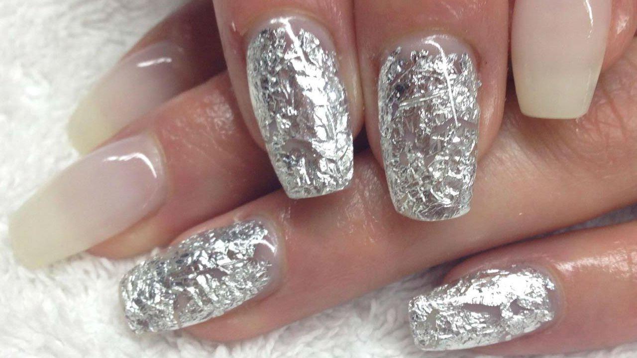 ♡ How to: Milky Gelnails w Silver Foil - YouTube