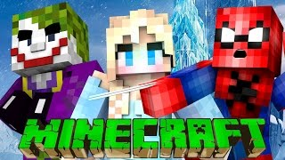 Spiderman & Frozen Elsa VS Joker - Minecraft