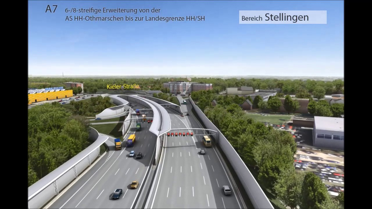 A 7 erweiterung in hamburg visualisierung youtube for Elbtunnel deckel