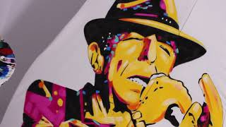 Artist Eric Waugh creates a Hand Painted Dress Depicting Canadian Icon Leonard Cohen