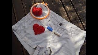 Come rimediare ad una macchia di candeggina con un cuore realizzato a punto spugna