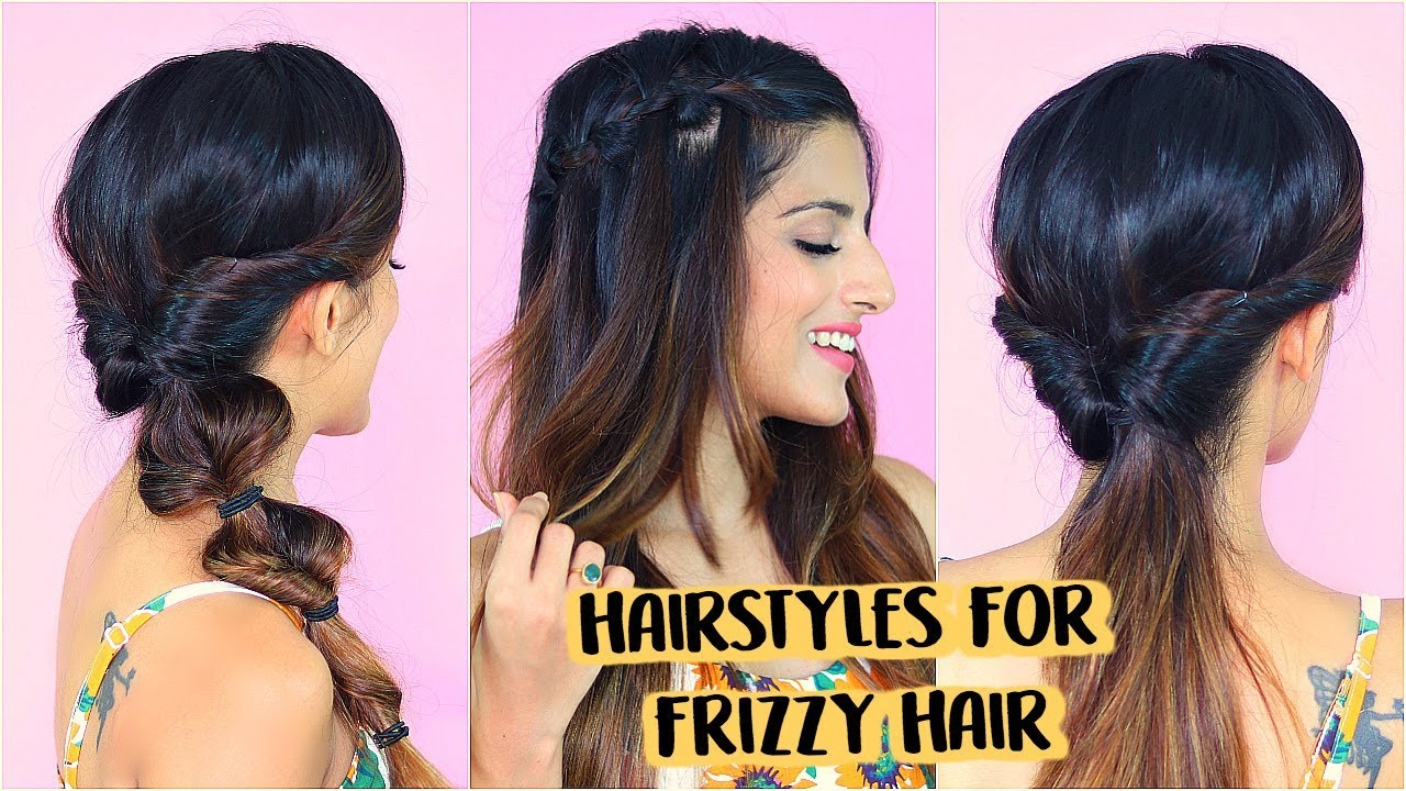 2 mins easy hairstyles for frizzy hair without heat for school, college, work | indian hairstyles