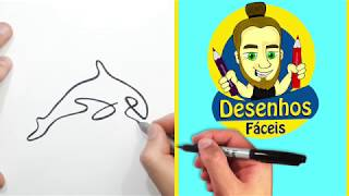 COMO DESENHAR UMA BALEIA MINIMALISTA - DESENHOS FACEIS