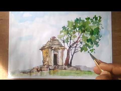 Watercolor Landscape Painting / scenery of beautiful nature.. step by step / watercolour