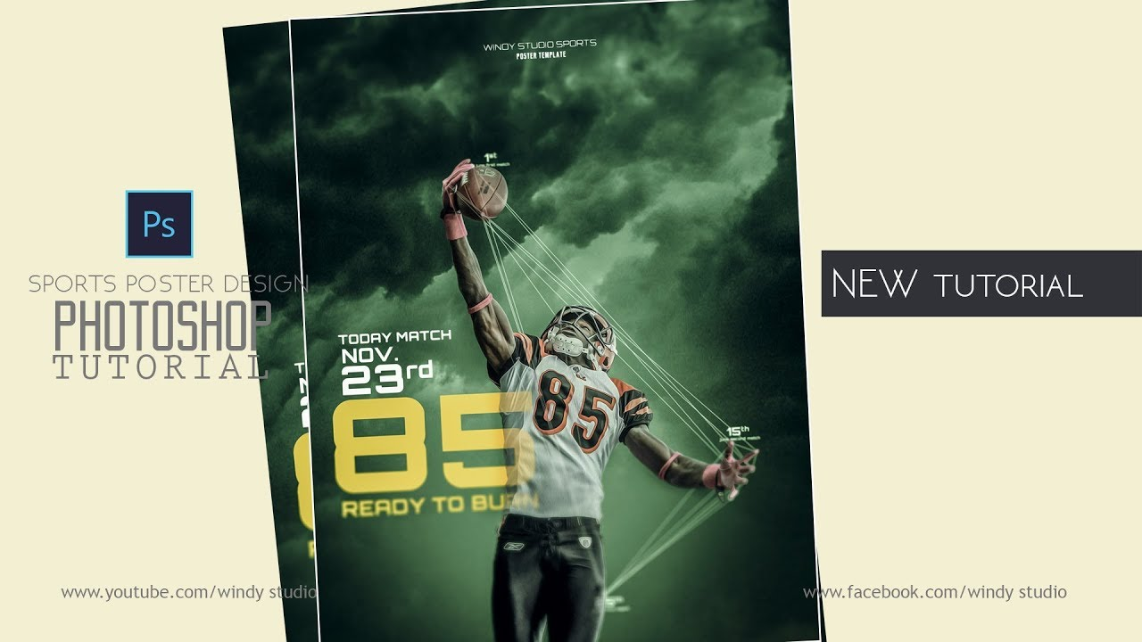 professional sports poster template design photoshop tutorial