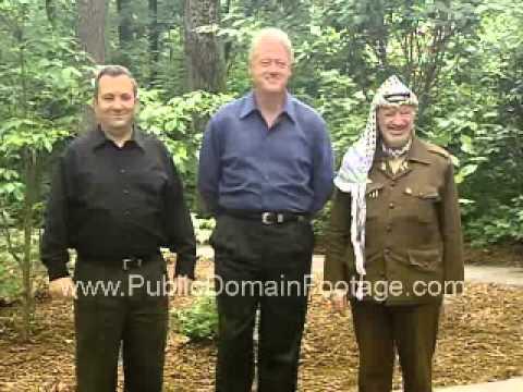 Camp David 2000 Clinton w/ Prime Minister Ehud Barak and Chairman Yasir Arafat