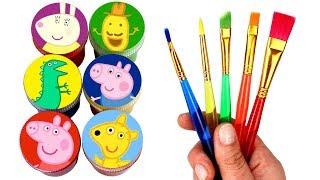 Peppa Pig Drawing & Painting with Surprise Toys Peppa Teddy George Mr Dinosaur Mr Potato Miss Rabbit