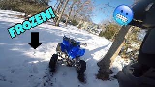 Yamaha Raptor 350 Riding on SOLID SNOW!!! *DANGEROUS*