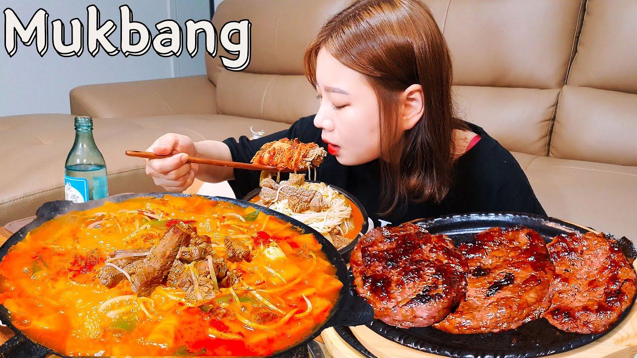 🍲소고기국밥+떡갈비🥩 솥뚜껑에 끓인 얼큰한 소고기국수엔 쏘주지!!(Ft.떡갈비) SPICY BEEF SOUP STEAK MUKBANG ASMR EATINGSHOW REALSOUND