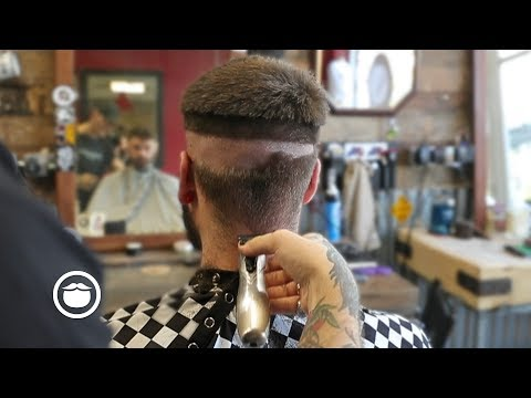 Skin Fade with Chop on Top and Beard Line Up