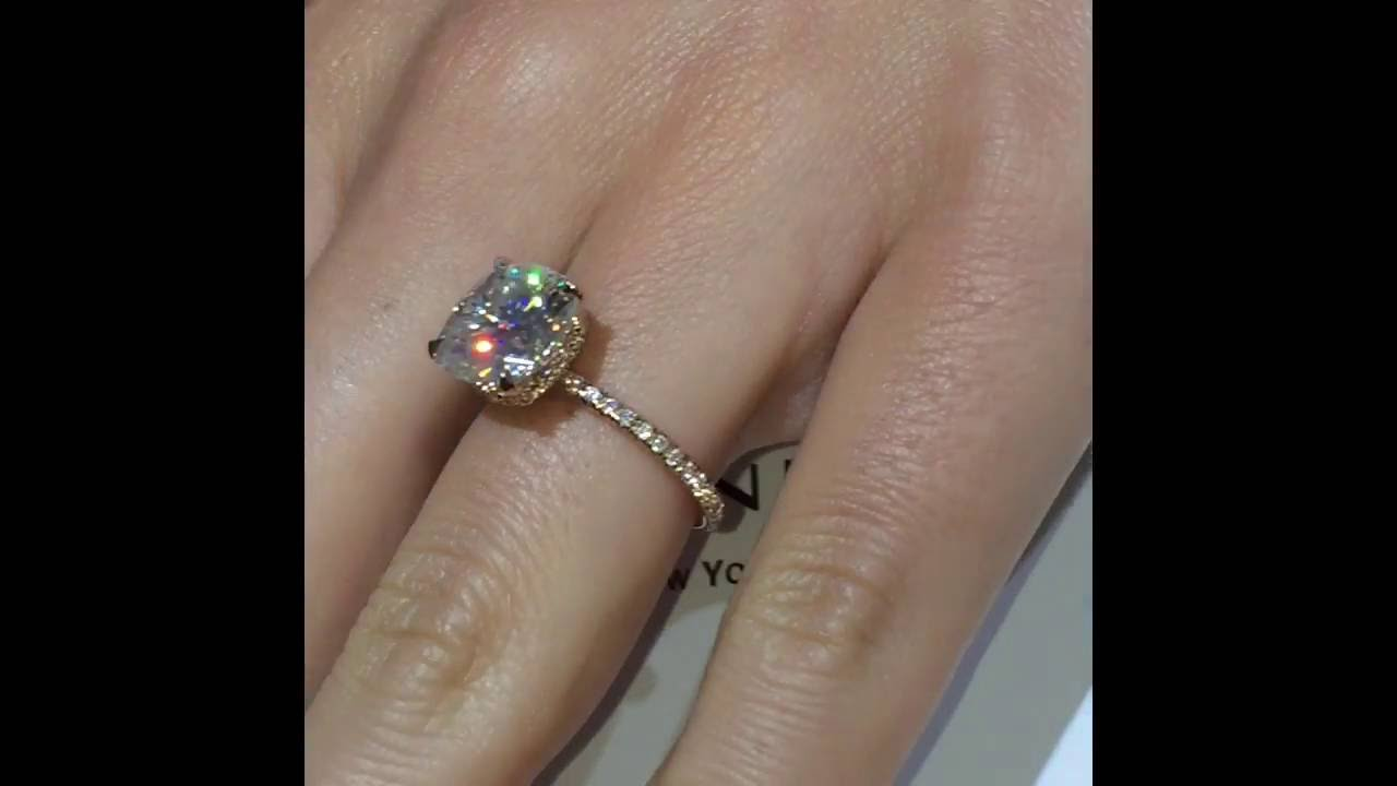 5 Carat Cushion Moissanite Engagement Ring