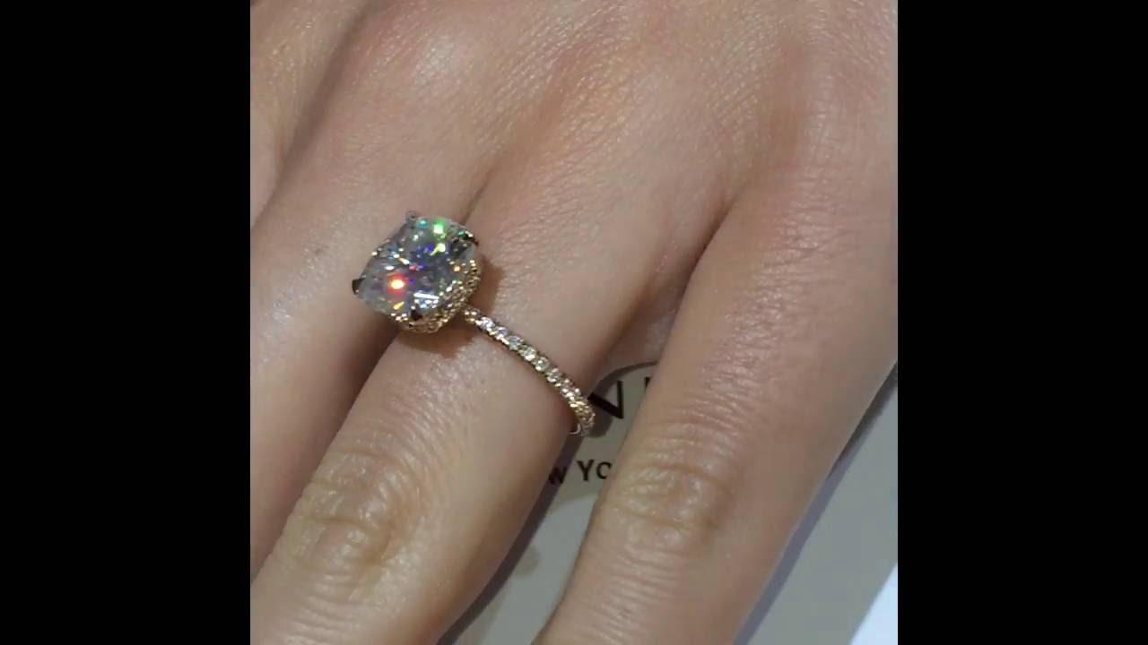 5 Carat Cushion Moissanite Engagement Ring  YouTube