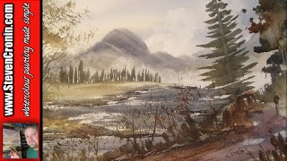 Mountain river watercolour painting demo