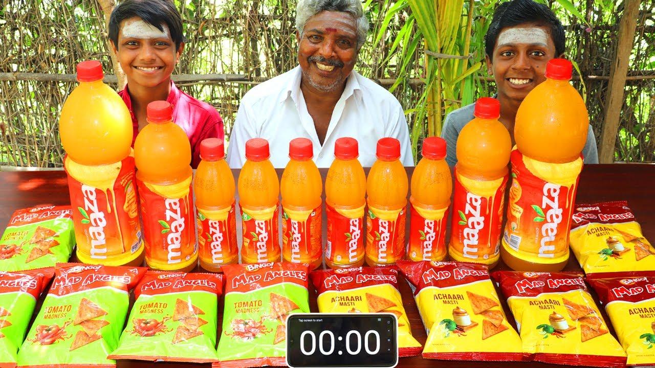 5 LITRE MAAZA 10 BINGO CHALLENGE   MAAZA DRINKING COMPETITION   BINGO MAD ANGLES EATING CHALLENGE