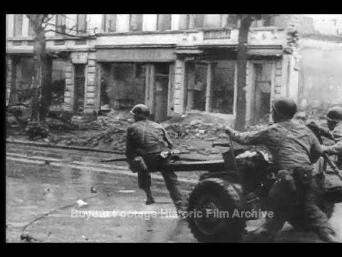 Historic Archival Stock Footage WWII - Americans Take Aachen