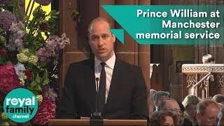 Prince William gives reading at Manchester bombing memorial service