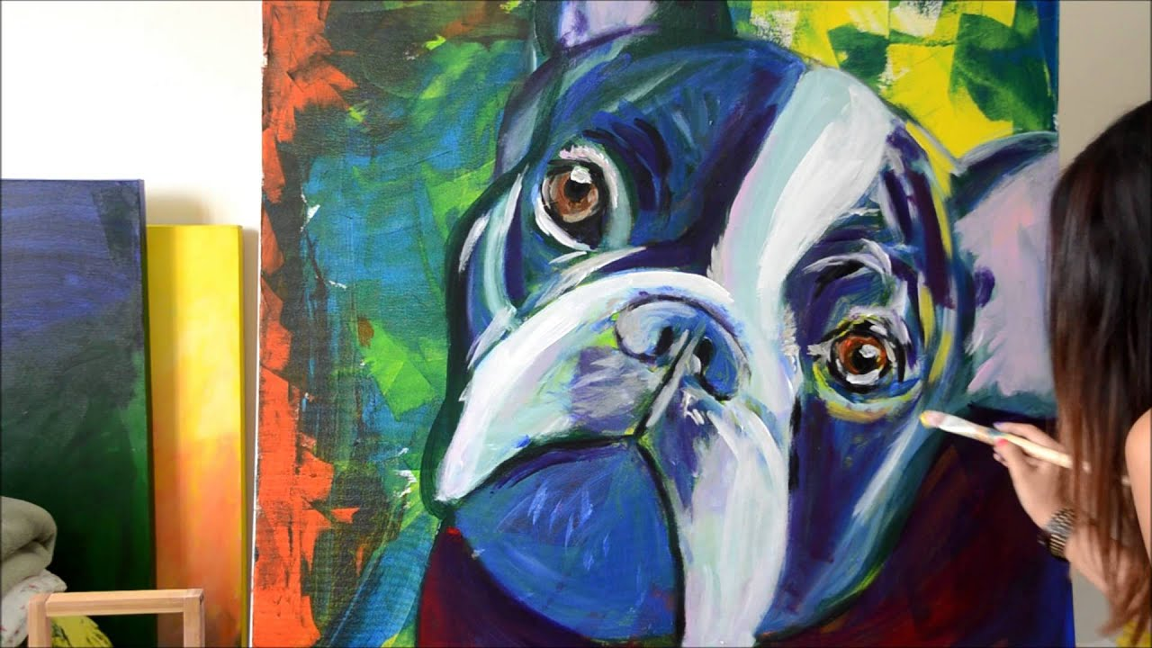 Bulldog frances arte pintura acrilica sobre tela youtube - Pintura acrilica pared ...