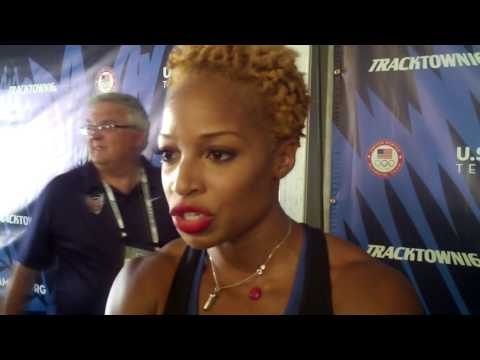 Natasha Hastings talks after qualifying for Olympics in women