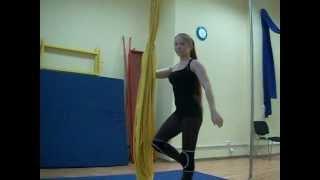видеоуроки по воздушной гимнастике на полотнах(урок 1,упражнение 1 преподаватель Екатерина Вяткина ,студия танца