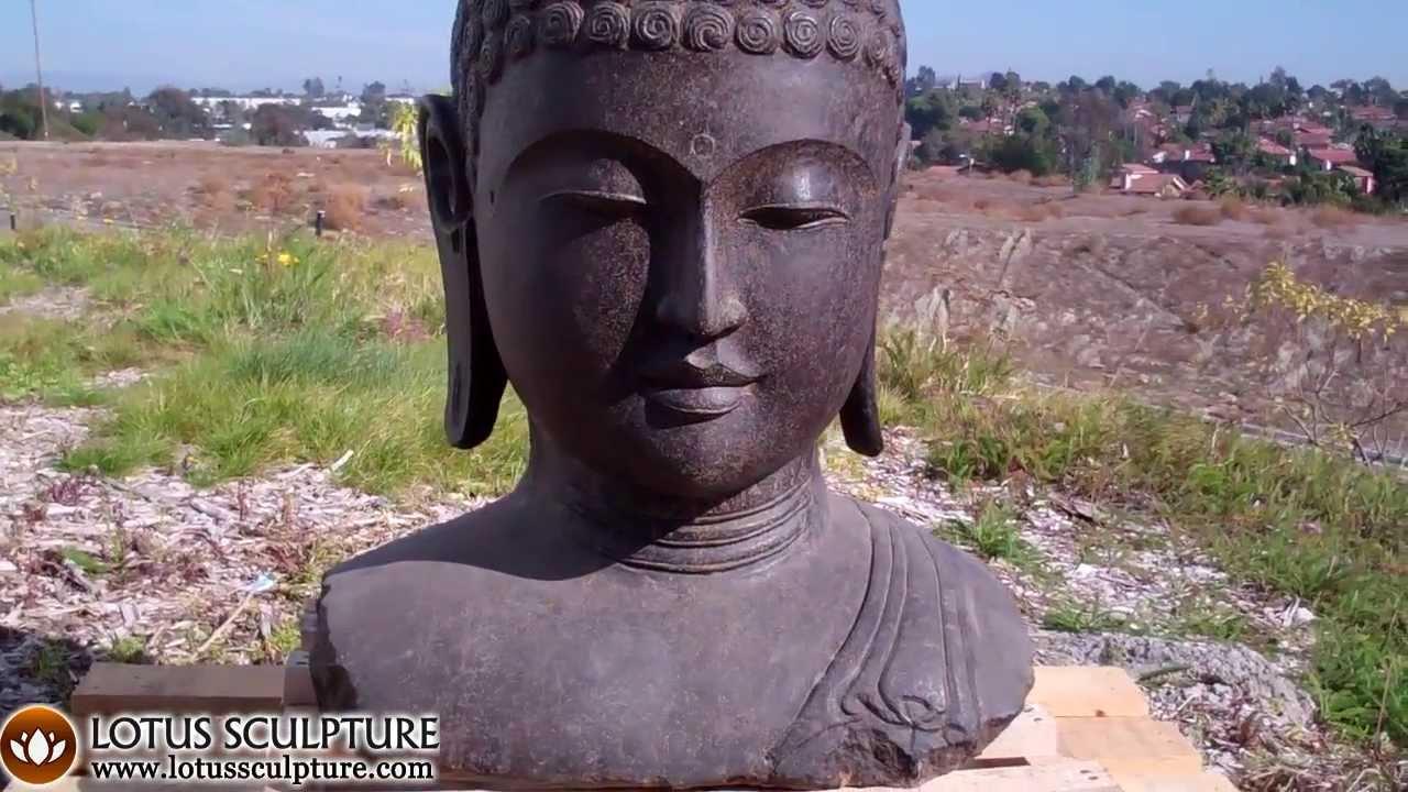 Garden Buddha Bust, Stone Sculpture Of Buddhas Head